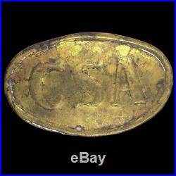 Confederate States America Csa Egg Cartridge Box Civil War Plate Buckle Antique