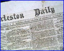 Confederate States of America CHARLESTON South Carolina Civil War 1863 Newspaper