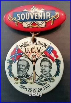 Confederate Veterans Pinback Robert E Lee Admiral Raphael Semmes 1910 Civil War