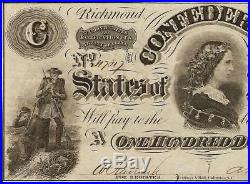 Ef 1862 $100 Dollar Bill CIVIL War Confederate States Currency Note Better T-49