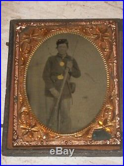 Framed military soldier in uniform tintype picture Civil war U. S. Confederate