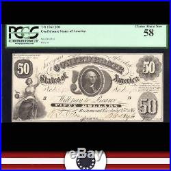 Fully Framed T-8 1861 $50 Confederate Currency CIVIL War Money Pcgs 58 46732
