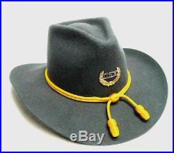 Gray Civil War Confederate Rebel era style Cavalry hat Sizes 7 1/4 to 7 3/4