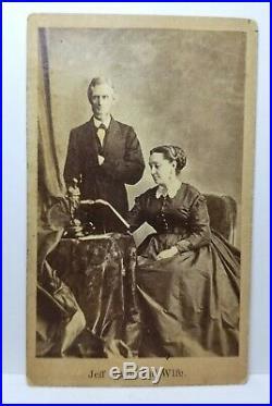 Jeff Davis and Wife Confederate Civil War president Jefferson Davis CDV photo