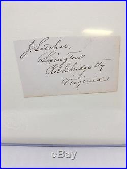 K Historic Civil War Autograph Signature JOHN LETCHER Confederate Governor