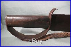 Large Antique Civil War Confederate D Guard Bowie Knife, 21, Wood Grip, CSA, RARE