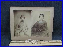 Large Confederate Soldier and Wife Cabinet Card Photograph Civil War Image