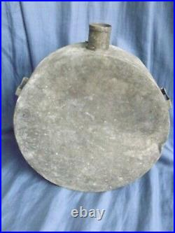 Large Confederate Tin Drum Canteen with original cap, Civil War, 10 by 3 CSA