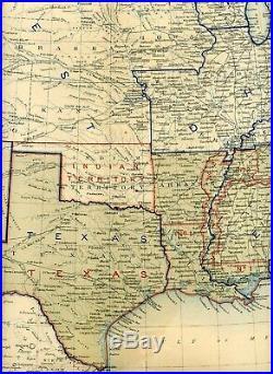 Large Original Antique Civil War Map UNION CONFEDERATE BOUNDARIES June 30, 1861