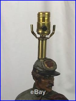Large Vintage Civil War Confederate Soldier Table Lamp 1971 Dunning Ind