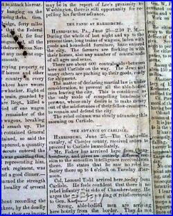 NORTHERN INVASION Battle of Gettysburg Civil War CONFEDERATE 1863 Old Newspaper