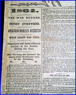 Nice CONFEDERATE STATES OF AMERICA Civil War North & South MAP 1865 Newspaper