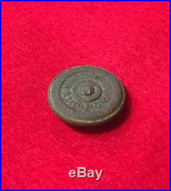 Nice Dug Confederate Block Infantry Civil War CS Relic Button Richmond Back Mar