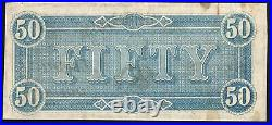 Nice Red T-66 1864 $50 Confederate Currency CIVIL War Bill 21325