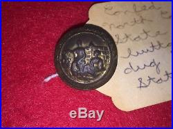 Orig Civil War Confederate North Carolina State Seal Button SA Myers Richmond VA