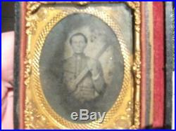 Orig. Civil War Confederate Solider with Weapon Glass Photo Old Florida Estate