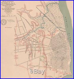Original Antique CSA US Civil War Map Confederate Defenses MOBILE Alabama AL
