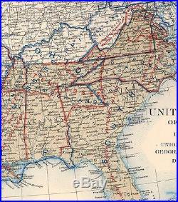 Original Antique Civil War Map UNION & CONFEDERATE BOUNDARIES December 31, 1863