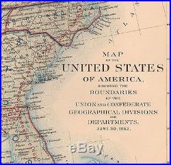 Original Antique Civil War Map UNION & CONFEDERATE BOUNDARIES June 30, 1862