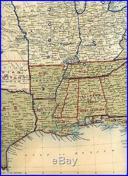 Original Antique Civil War Map UNION & CONFEDERATE BOUNDARIES of Dec 31, 1861