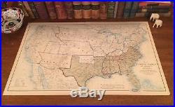 Original Antique Civil War Map UNION & CONFEDERATE BOUNDARIES of Dec 31, 1864