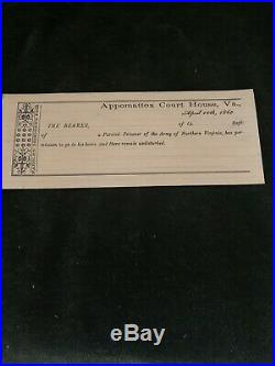 Original Civil War Confederate Parole Pass April 10,1865 Appomatox, Va