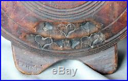 Original Civil War Confederate canteen wooden carved decorated wood bull's eye