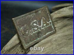 Original Csa Confederate CIVIL War Brass Belt Buckle Square (g3)