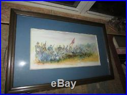 Original Watercolor Painting American CIVIL War Confederate Scene