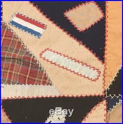 Patchwork Crazy Quilt Confederate Veterans Nashville UCV Ribbon post Civil War
