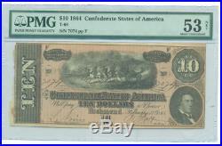 Pmg Au-53 1864 Confederate $10 Note Csa CIVIL War Au-53 T-68