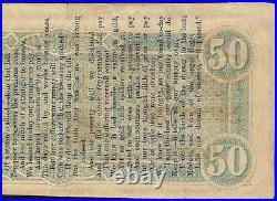 Poem On 1864 $50 Dollar Bill Confederate States Currency CIVIL War Note Money Vf