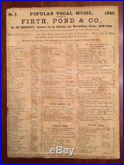 RARE 1860 DIXIE'S LAND 1st Ed. Sheet Music, Civil War Confederate Anthem, Emmett