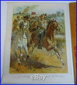 RARE Antique Litho Print JEB Stuart's Raid Confederate 1862 Civil War 1900