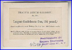 RARE CIVIL WAR ERA CDV LARGEST CONFEDERATE GUN BRADY'S ALBUM GALLERY No. 398
