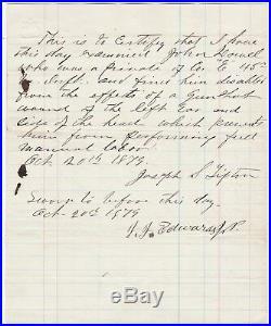 RARE Civil War Confederate Soldier Battle Wound Document 45th Virginia CSA Vet