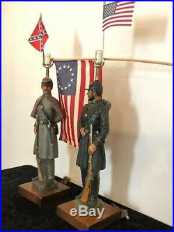 RARE LARGE CIVIL WAR CONFEDERATE, UNION, DUNNING INDUSTRIES 1971 LAMP Lot of 2