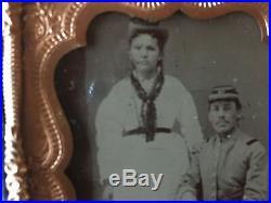 REBEL CIVIL WAR MILITARY MAN AND WIFE! Civil War Confederate and Wife Tintype