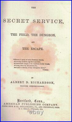 Rare 1865 CIVIL War Escape From Confederate Prison 1st Edition Illustrated Gift