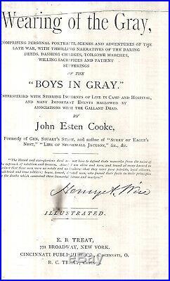 Rare 1867 Confederate CIVIL War John Esten Cooke Virginia Jeb Stuart Aide First