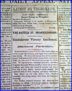 Rare BATTLE OF STONES RIVER Jefferson Davis 1863 CONFEDERATE Civil War Newspaper