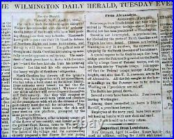 Rare CONFEDERATE Fort Sumter Civil War STARTS 1861 Wilmington NC Old Newspaper