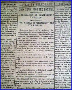 Rare CONFEDERATE Greneda MS Miss. With Battle of ANTIETAM Civil War 1862 Newspaper