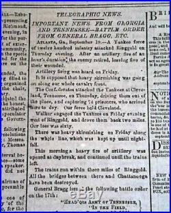 Rare Confederate BATTLE OF CHICKAMAUGA Chattanooga TN 1863 Civil War Newspaper