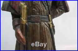 Rare Vintage 1971 Civil War Confederate Soldier Wood Carved Lamp by Dunning