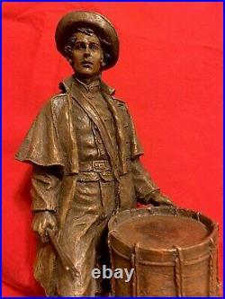 Ron Tunison Civil War Confederate Drummer Boy Cold Cast Bronze Sculpture/Statue
