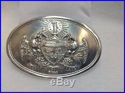 STERLING SILVER Civil War Confederate Arkansas Oval Belt Buckle REPRODUCTION