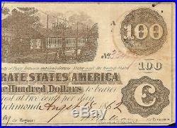 San Antonio Texas 1862 $100 Confederate States Currency CIVIL War Note Moneyt-40