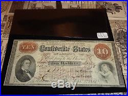 September 1861 $10 Confederate States Paper Money Civil War CSA Note T-24 XF