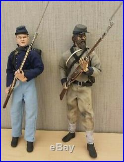 Set Of 2 Sideshow 12 Inch CIVIL War Union And Confederate Soldiers Loose